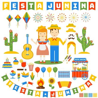 Vetores de Festa Junina Conjunto De Ícones e mais imagens de Abstrato