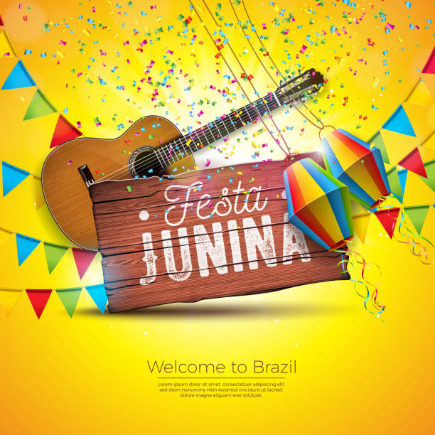 Festa Junina Illustration with Acoustic Guitar, Party Flags and Paper Lantern on Yellow Background. Typography on Vintage Wood Table. Vector Brazil June Festival Design for Greeting Card, Invitation or Holiday Poster. Festa Junina Illustration with Acoustic Guitar, Party Flags and Paper Lantern on Yellow Background. Typography on Vintage Wood Table. Vector Brazil June Festival Design for Greeting Card, Invitation or Holiday Poster cartable stock illustrations