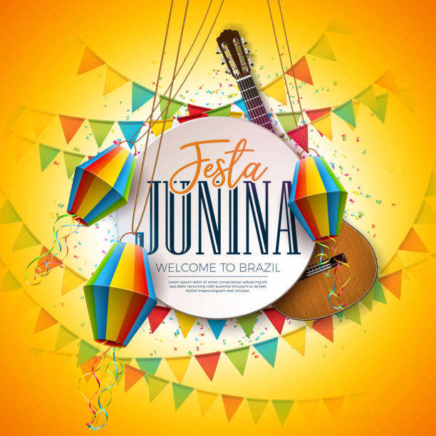 Festa Junina Illustration with Acoustic Guitar, Party Flags and Paper Lantern on Yellow Background. Typography on Vintage Wood Table. Vector Traditional Brazil June Festival Design for Greeting Card, Invitation or Holiday Poster. Festa Junina Illustration with Acoustic Guitar, Party Flags and Paper Lantern on Yellow Background. Vector Traditional Brazil June Festival Design for Greeting Card, Invitation or Holiday Poster cartable stock illustrations