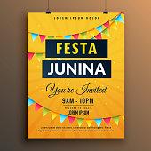 festa junina invitation poster design with garlands