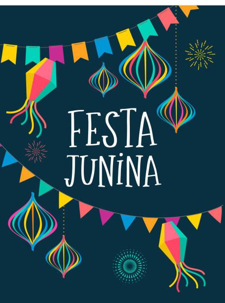 illustrazioni stock, clip art, cartoni animati e icone di tendenza di festa junina - latin american, brazilian june festival - tavola imbandita
