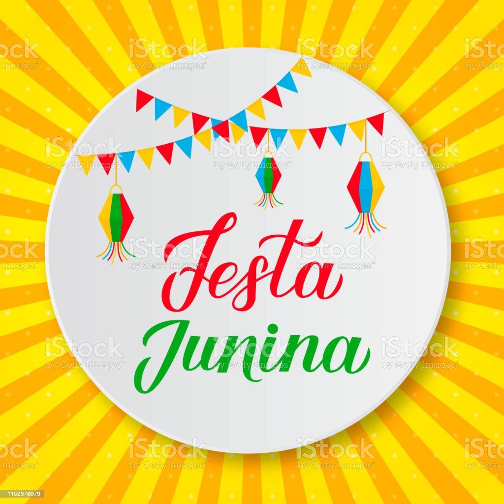 Festa Junina Beschriftung Mit Fahnen Und Laternen Auf