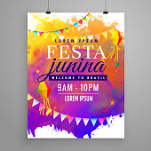 festa junina party celebration invitation flyer design