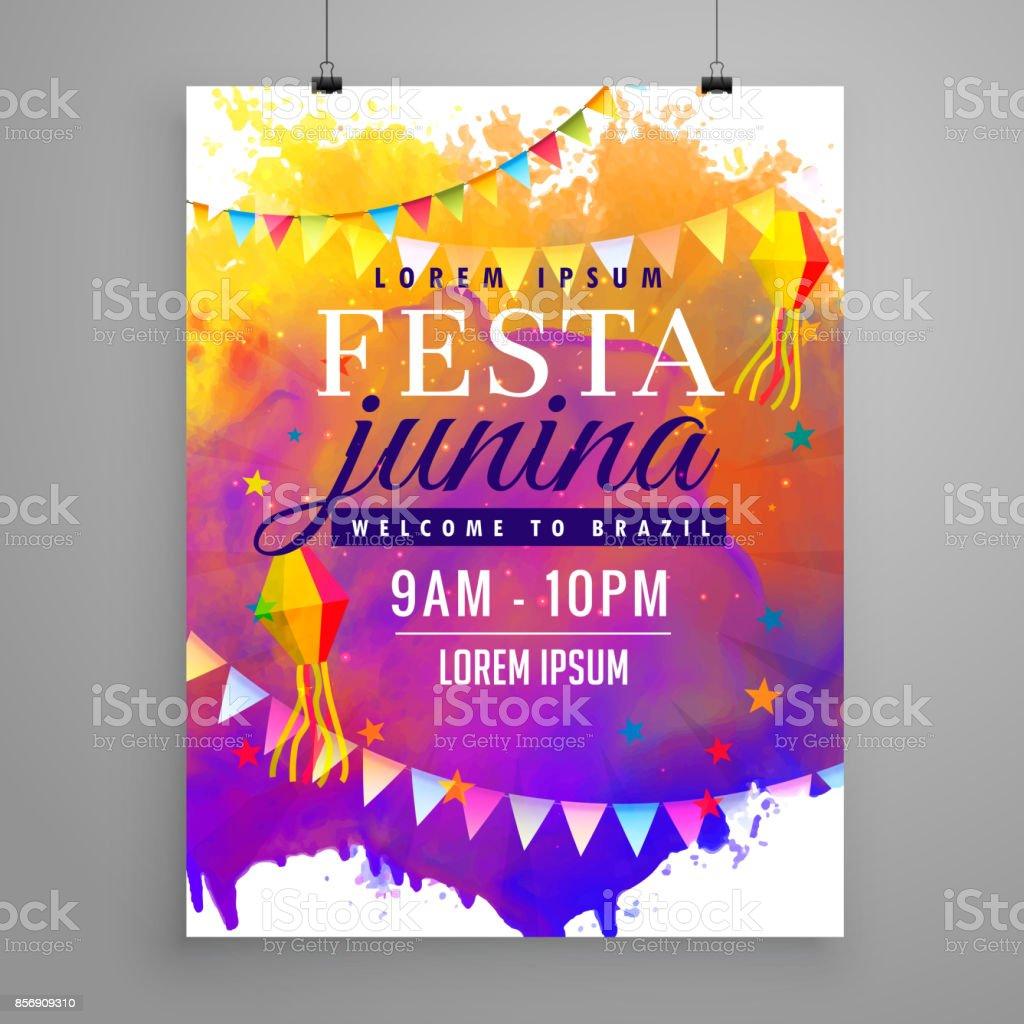 festa junina party celebration invitation flyer design vector art illustration