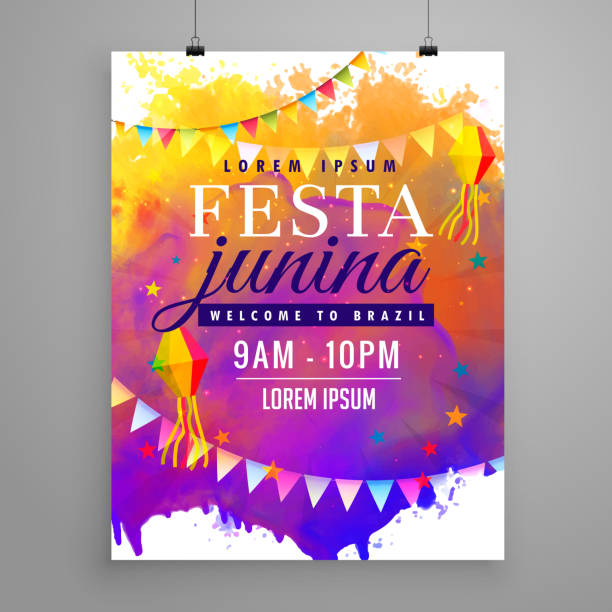 festa junina party celebration invitation flyer design - summer background stock illustrations