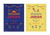 Festa junina party design. Vector background with fireworks and garland. Vector illustration. For poster, card, web, invitation.