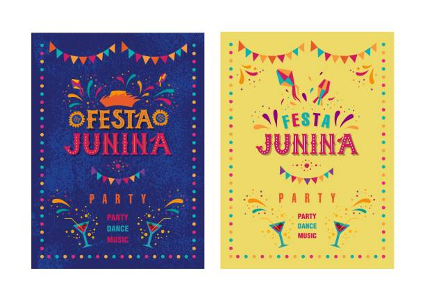 Festa junina party design Festa junina party design. Vector background with fireworks and garland. Vector illustration. For poster, card, web, invitation. farmer's market stock illustrations