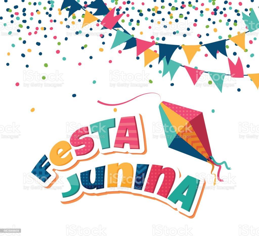 Festa Junina party greeting background. vector art illustration