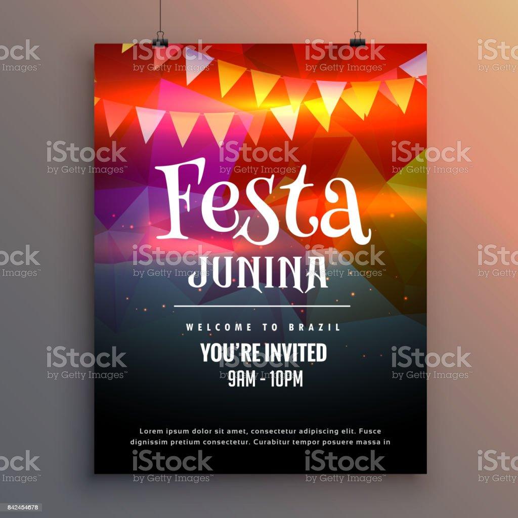 festa junina party invitation flyer design template vector art illustration