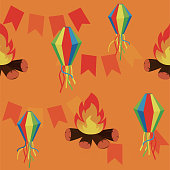 Festa Junina seamless pattern vector background.
