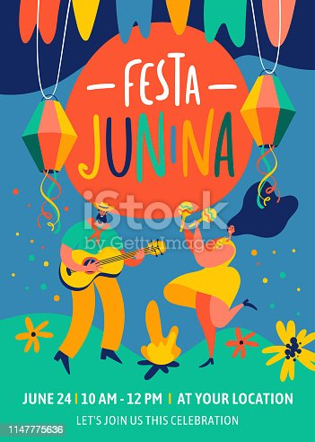 Festa Junina traditional Brazil June festival party. Vector design templates for greeting card, invitation, poster, banner, and other use.