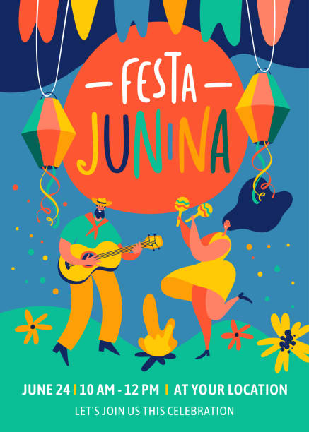 stockillustraties, clipart, cartoons en iconen met festa junina traditionele brazilië juni festival feest. vector ontwerpsjablonen voor wenskaart, uitnodiging, poster, banner, en ander gebruik. - traditie