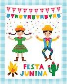 istock Festa Junina, traditional Brazil June party, a dancing couple, vector poster design 1222465406