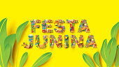Festa Junina typography festival design on paper art and flat style with Party Flags and Paper Lantern, Can use for Greeting Card, Invitation or Holiday Poster. - Vector