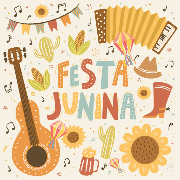 Festa Junina! Vector cute illustration of Brazilian Latin American festival. Set of guitar, garland, flashlight, accordion, sunflower and isolated objects. Drawings for banner, card, poster, postcard vector art illustration