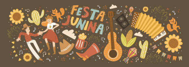 Festa Junina! Vector cute illustration of Brazilian Latin American festival. Set of people, guitar, dance, flashlight, accordion, sunflower and objects. Drawings for banner, card, poster, postcard vector art illustration