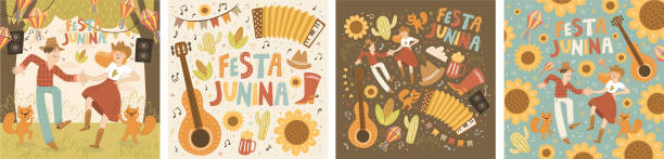 Festa Junina! Vector cute illustration of dancing man and woman, squirrels, paper lanterns, festive music. Couple of farmers celebrate traditional Brazilian holiday. Drawing for card, poster, postcard vector art illustration