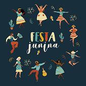 Festa Junina. Vector set with flat characters. Latin American holiday.