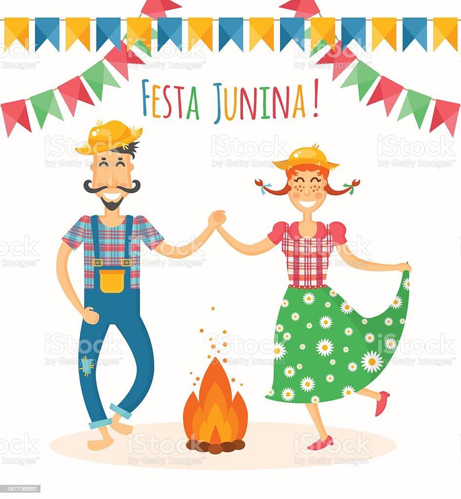 Festa Junina vector illustration - traditional Brazilian celebration vector art illustration