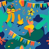 Festa Junina. Vector seamless pattern with dancing man and woman, party flags and confetti.