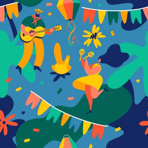 ilustrações de stock, clip art, desenhos animados e ícones de festa junina. vector seamless pattern with dancing man and woman, party flags and confetti. - tradição
