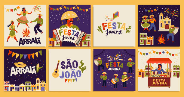 ilustrações de stock, clip art, desenhos animados e ícones de festa junina. vector templates for latin american holiday, the june party of brazil. design for card, poster, banner, flyer, invitation. - tradição