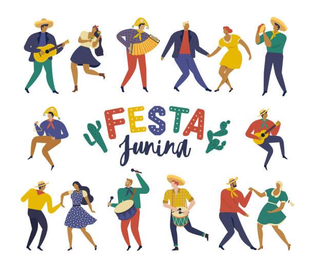 bildbanksillustrationer, clip art samt tecknat material och ikoner med festa junina. vektor mallar för latinamerikansk semester, junipartiet i brasilien. design för banderoll och överanvändning. - latino music