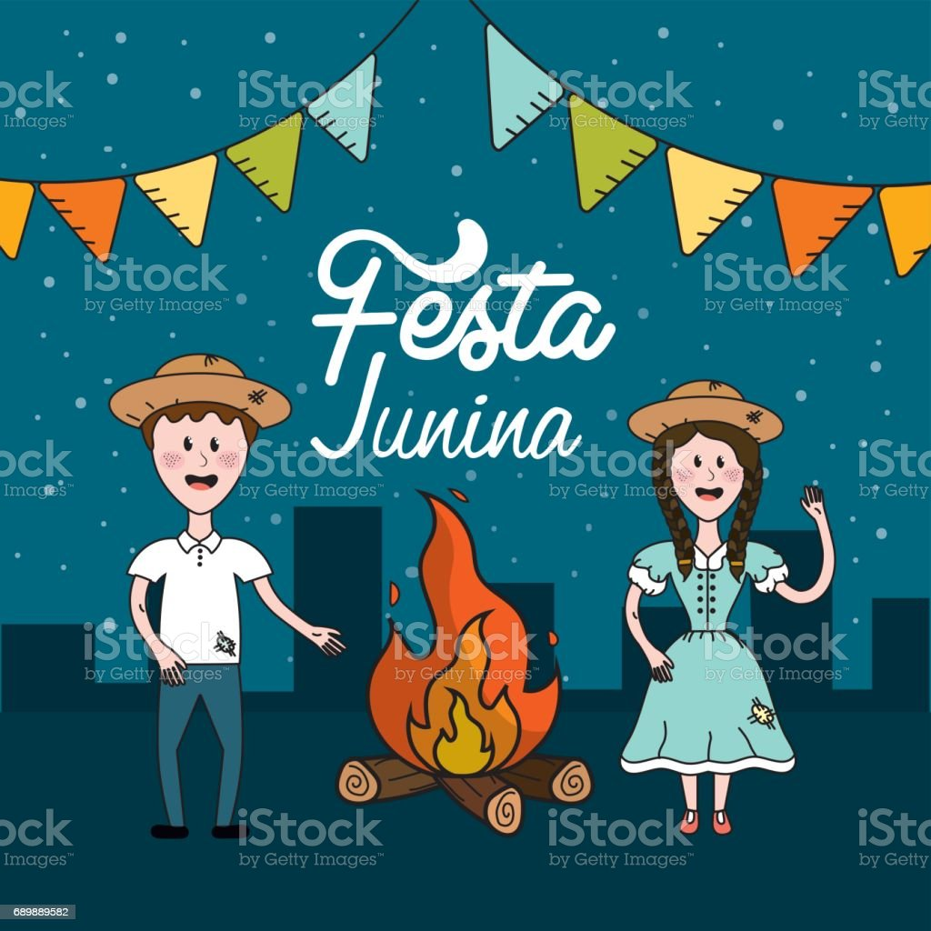 Festa junina con fuego de leña y el pueblo brasileño - ilustración de arte vectorial