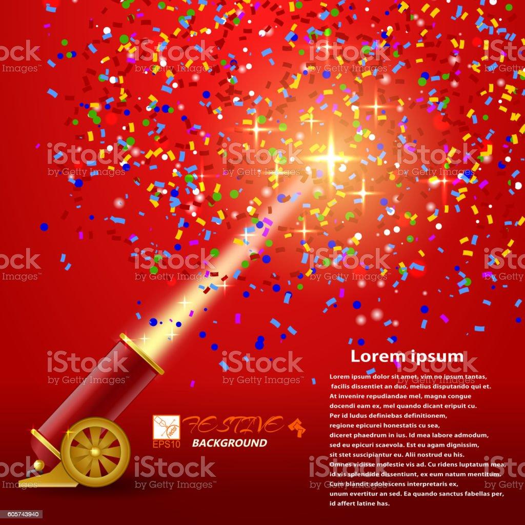 Festival background. Red festive background with shooting guns vector art illustration