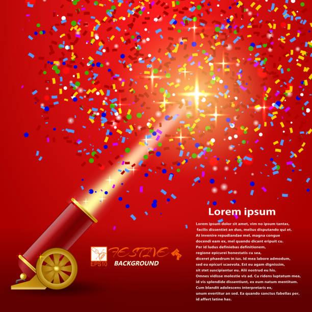 ilustraciones, imágenes clip art, dibujos animados e iconos de stock de festival background. red festive background with shooting guns - sparks