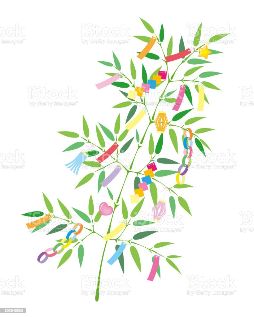 TANABATA Festival bamboo grass decoration, isolated on white background. vector art illustration