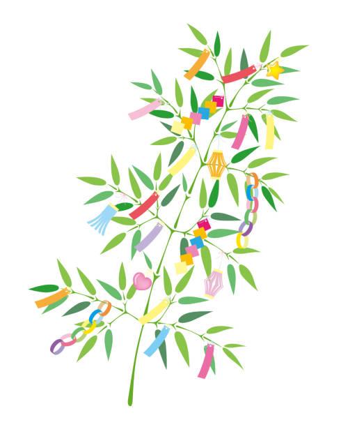 七夕竹草飾り、白い背景で隔離。 - 七夕点のイラスト素材/クリップアート素材/マンガ素材/アイコン素材