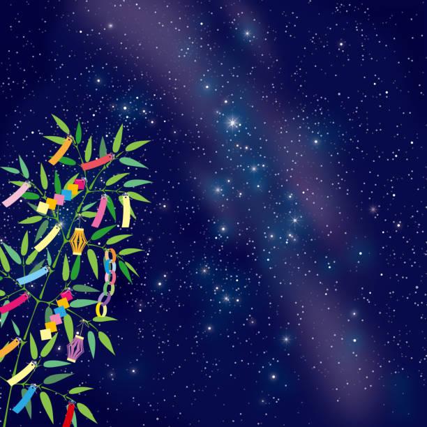天の川に七夕竹草飾り - 七夕点のイラスト素材/クリップアート素材/マンガ素材/アイコン素材
