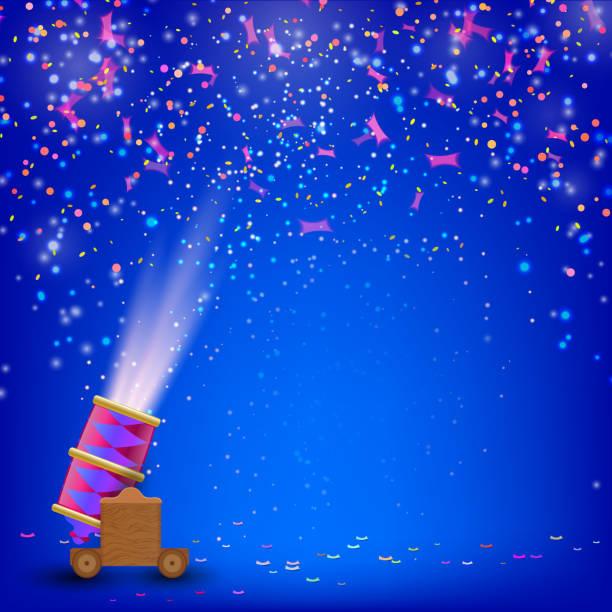 ilustraciones, imágenes clip art, dibujos animados e iconos de stock de festival blue background. festive background with shooting guns - sparks