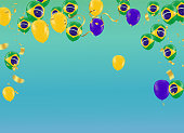Festival Celebrated Brazilian Colorful Celebration Brazilian Carnaval Title With Colorful Party Elements. Travel destination. Brazilian Rhythm, Dance and Music.