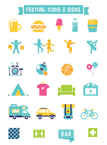 Festival, Concert and Camping Flat Icons