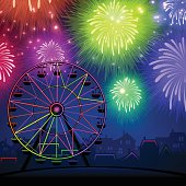 Festival fireworks with ferris wheel. EPS 10 file. Transparency effects used on highlight elements.