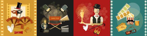 festival movie theater shooting film premiere retro vector set - oscars stock illustrations, clip art, cartoons, & icons