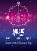 Festival music flyer techno concept vector illustration graphic design
