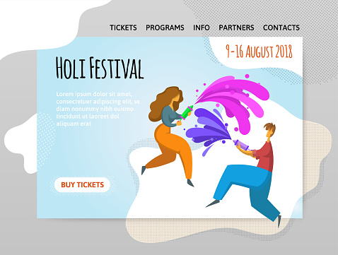 Festival of colors Holi. Happy boy and girl throw paint. Vector illutration, design template of site, header, banner or poster.