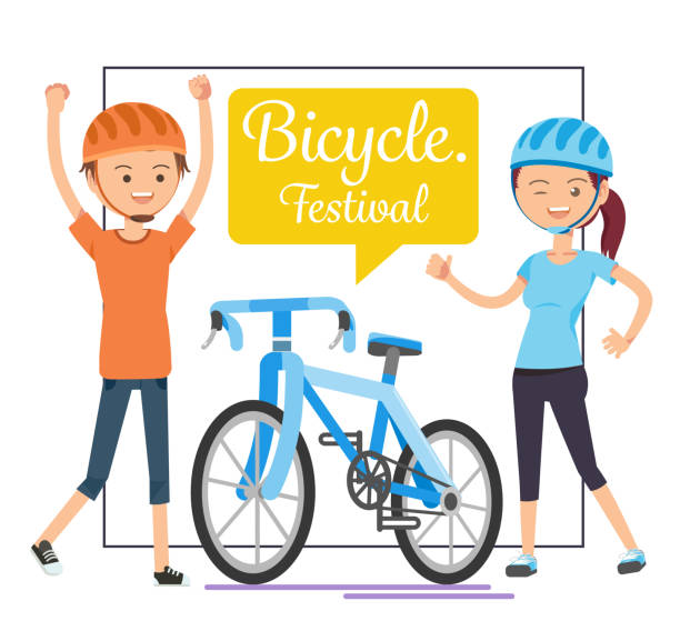 Festival of Cycling for Health. Exercise lightly.Couple relax. vector art illustration