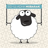 Cute sheep with banner on seamless islamic wallpaper pattern for muslim community festival of sacrifice Eid-ul-Adha