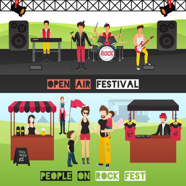 bildbanksillustrationer, clip art samt tecknat material och ikoner med festival ut banners - happy indie pop