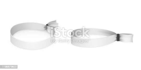 Festival party fabric wristbands with black plastic lock isolated on white background. Identity cloth bracelets. Vector mockup with blank access control design for music concert, dance and events