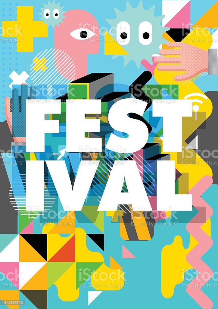 Festival poster design vector art illustration