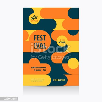 Festival Poster Layout with geometric Shapes. Vector illustration.
