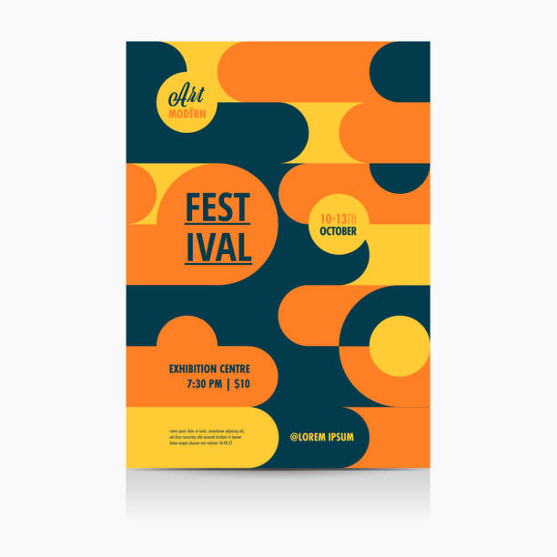 festival poster layout with geometric shapes. vector illustration. - tradycyjny festiwal stock illustrations