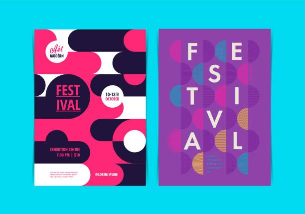 ilustrações de stock, clip art, desenhos animados e ícones de festival poster layout with geometric shapes. vector illustration. - músico popular