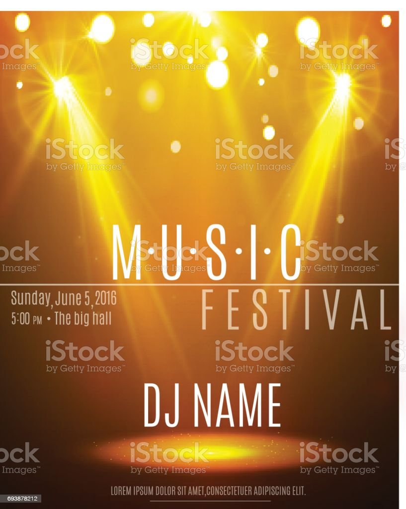 Festival Poster With Spotlight Concert Party Theater Dance Show Design Empty