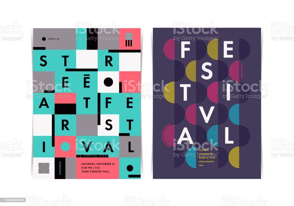De indeling van het festival posters met kleurrijke geometrische elementen. Vectorillustratie. - Royalty-free Aankondigingsbericht vectorkunst